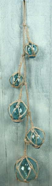 Blaue Deko Fischerkugel aus Glas Ø 7,5cm Fischernetz Kugel maritime Deko 5815